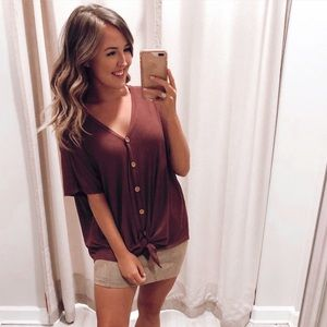 Short Sleeve Button Down Thermal Top